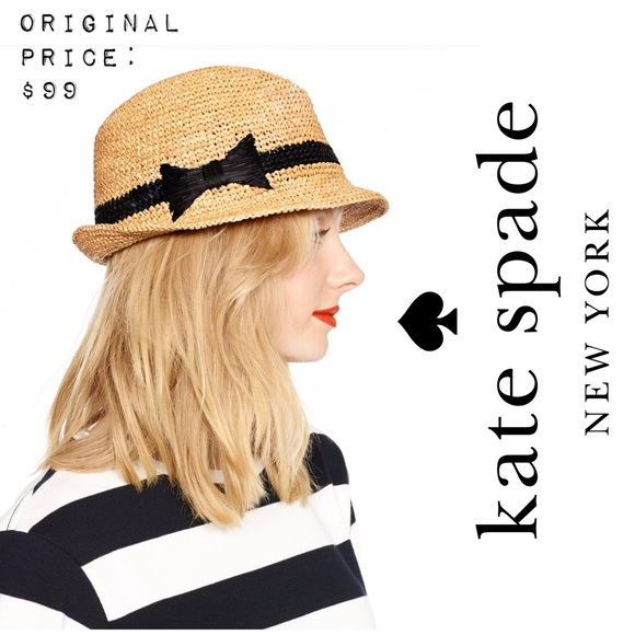 6520ae87eb33c kate spade Accessories - 🎀 KATE SPADE Packable Straw Fedora Sun Hat Bow